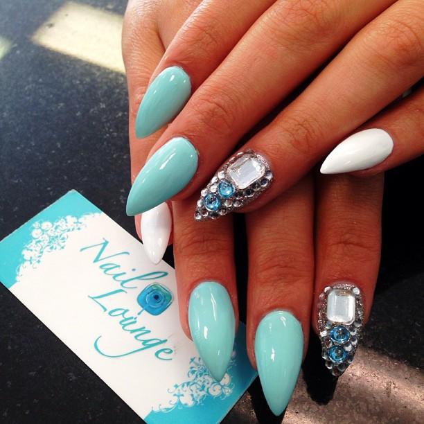 Turquoise Stiletto Nail Art: 16 Pretty Gem Nail Designs You Won't Miss
