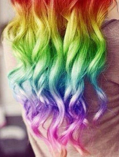 Pretty Ombre Rainbow Hairstyle for Curly Hair