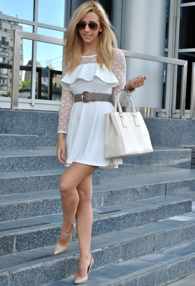 Pretty White Dress Outfit for Young Women