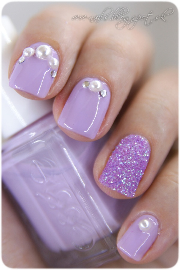 Purple Embellished Gem Nails