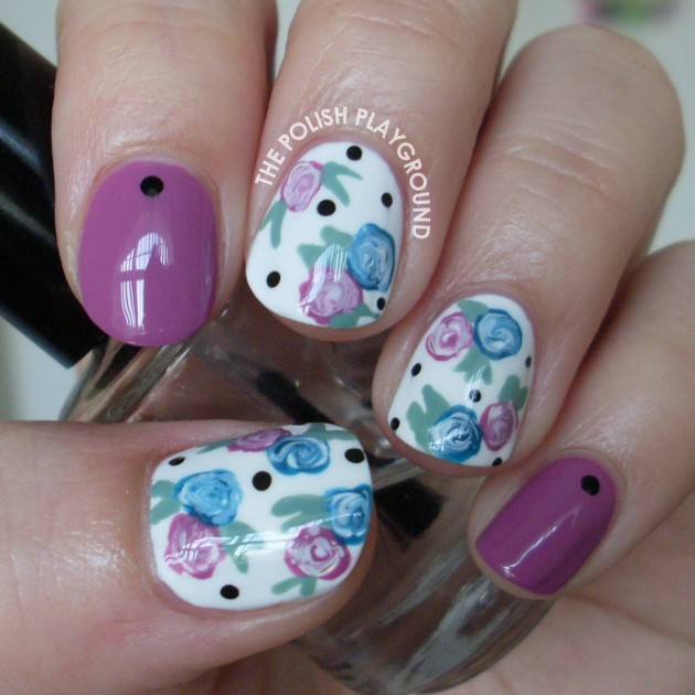 Purple Flower Nail Designs