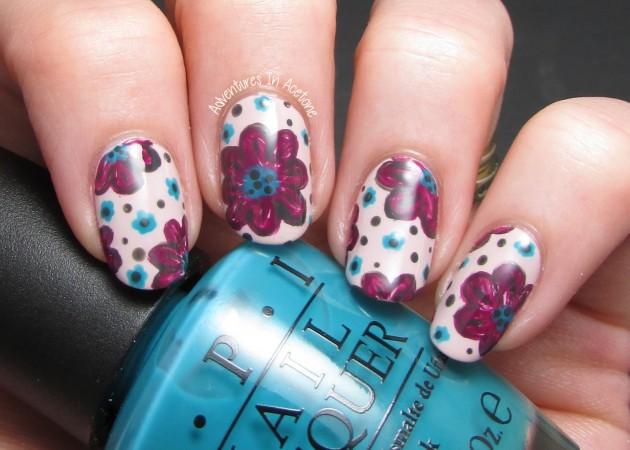 Purple Flower Nail Designs