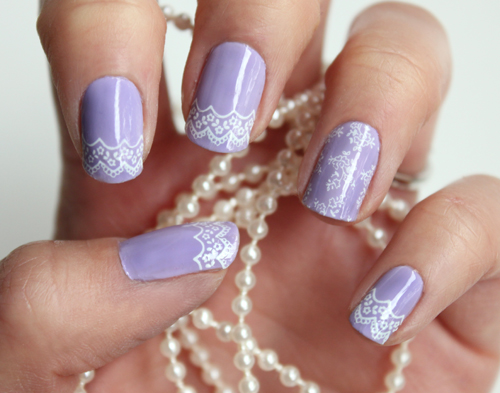 Purple Lace Nail Art Idea