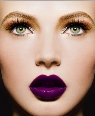 Purple Lips and Golden Eye Makeup