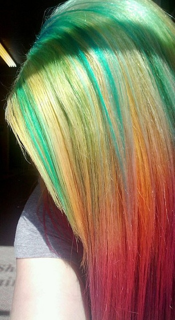 Rainbow Colored Hair Idea for Summer