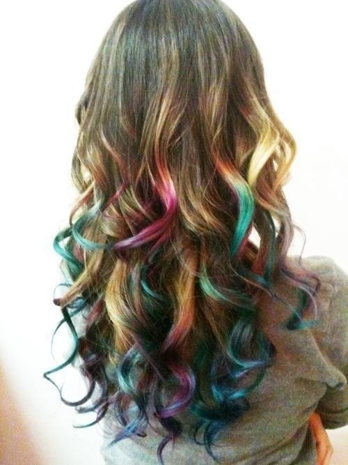 Rainbow Highlights for Dark Hair