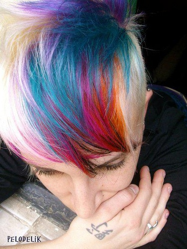 Rainbow Highlights for Short Hair