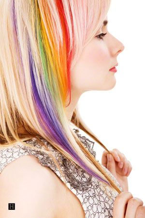Rainbow Ombre Hair Idea for Blonde Hair