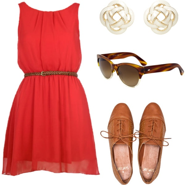 Red Chiffon Dress Outfit Idea for Summer