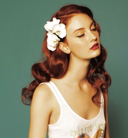 Red Curls with Flower