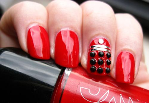 Red Embellished Nails