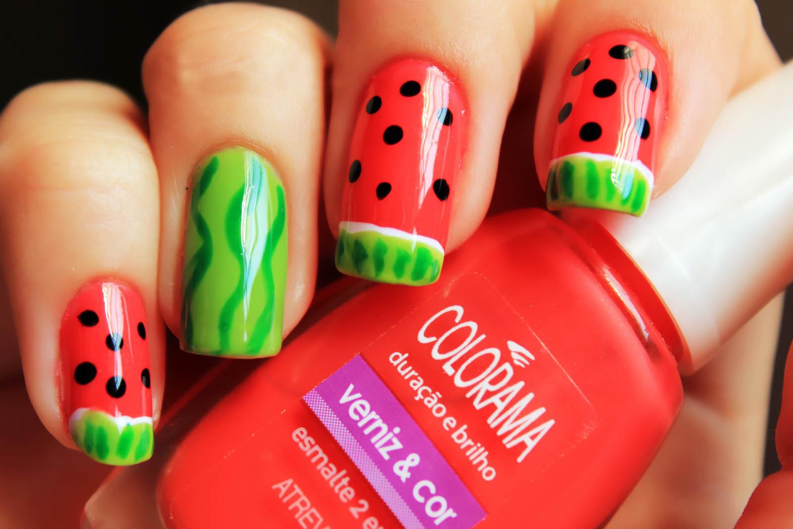 Red and Green Nail Art