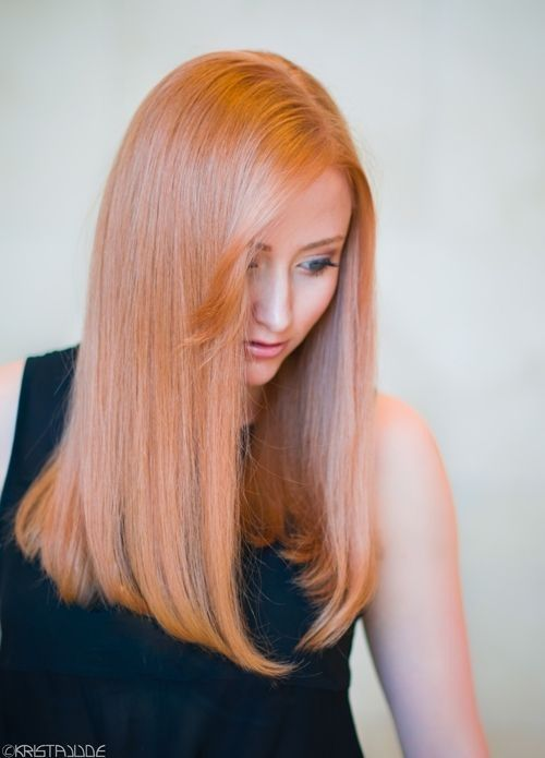 Rose Gold Long Straight Hair