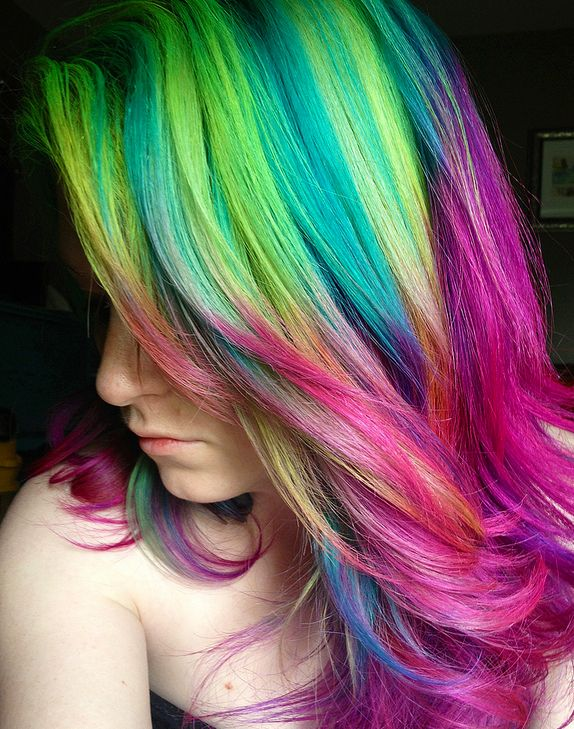 Sexy Ombre Hairstyles with Rainbow Colors