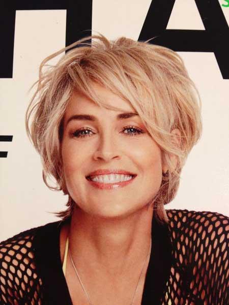 Sharon Stone Short Hairstyles 2014