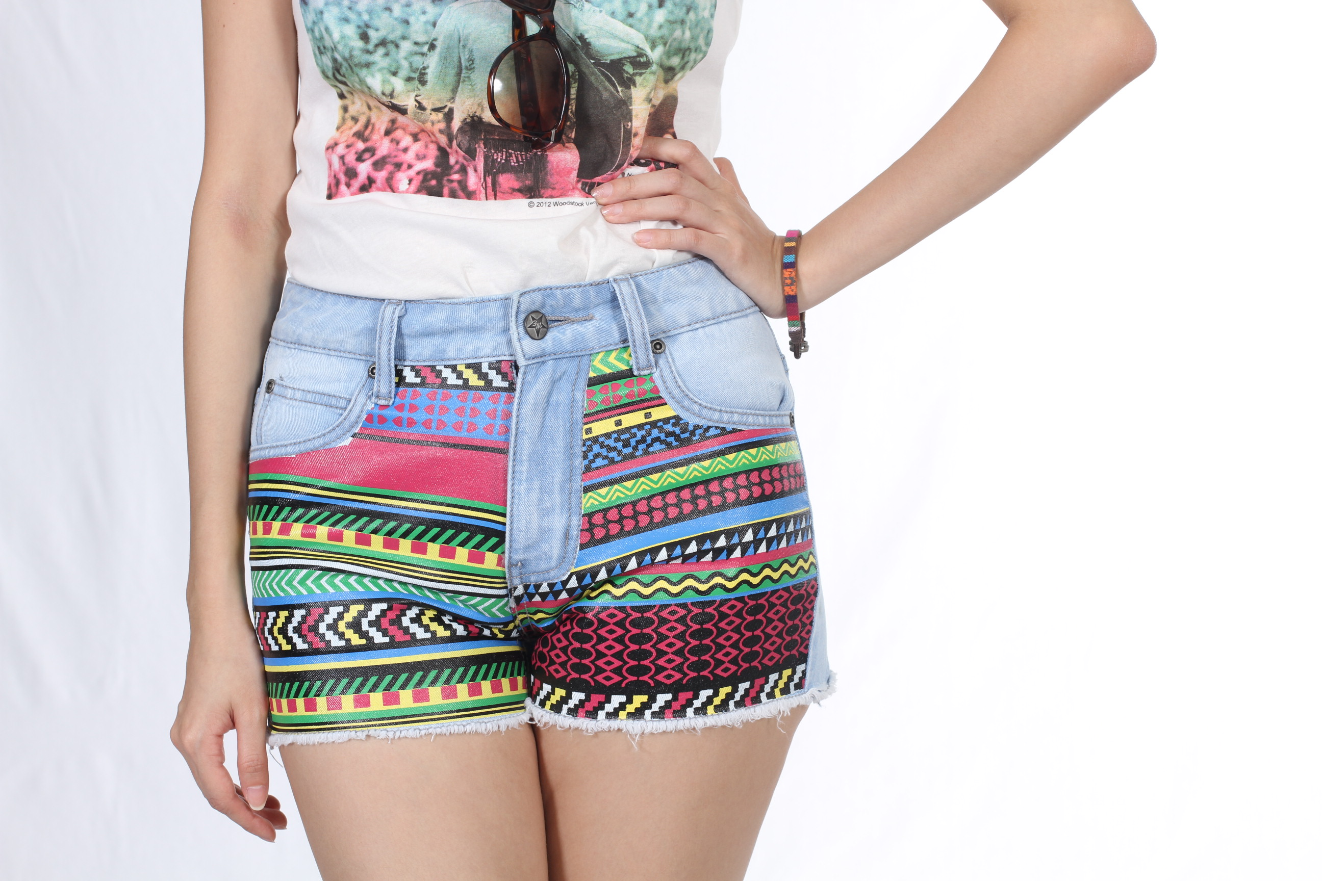 Shorts with Tribal Print
