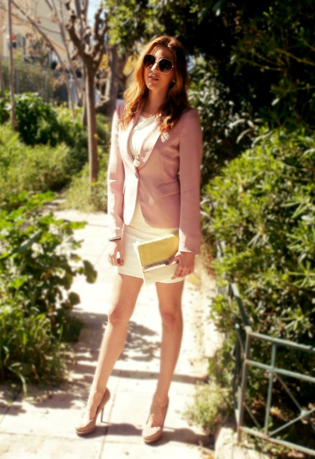 Sophisticated White Dress Outfit Idea with Pink Blazer