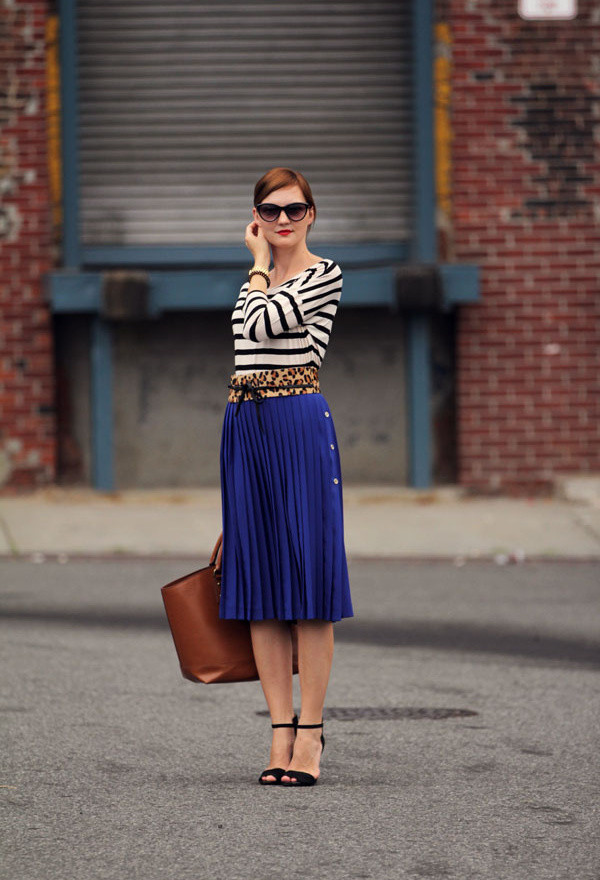 Spring Outfit Idea with Pleated Skirt