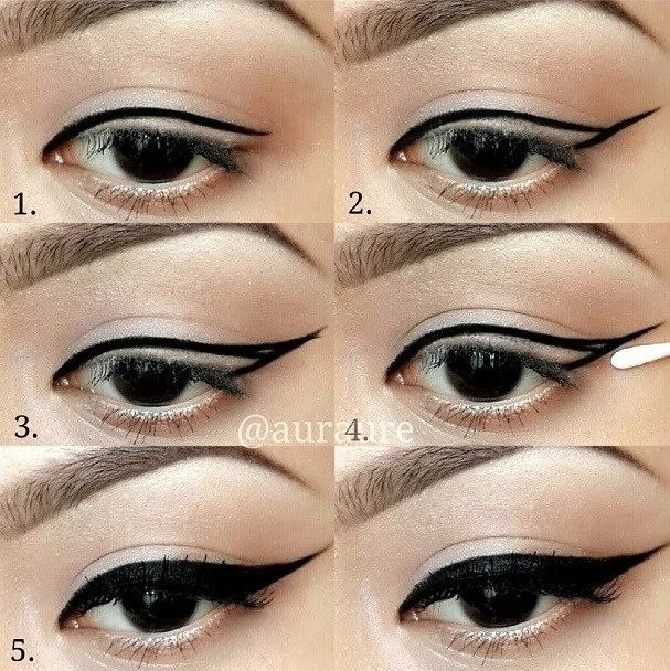 Step by step winged eyeliner makeup tutorial