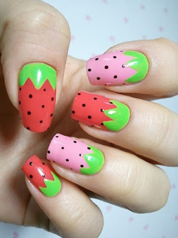 14 lovely prints for summer fruit nail designs pretty designs straberry print for summer fruit nail designs prinsesfo Images