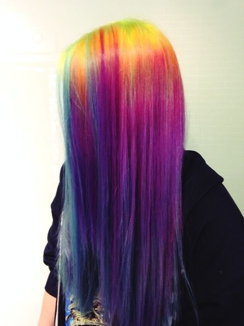 Straight Rainbow Ombre Hair