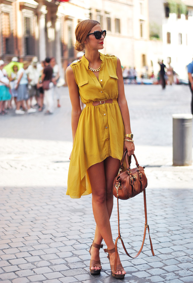 Street Style Dresses - High Low Hemline Dress