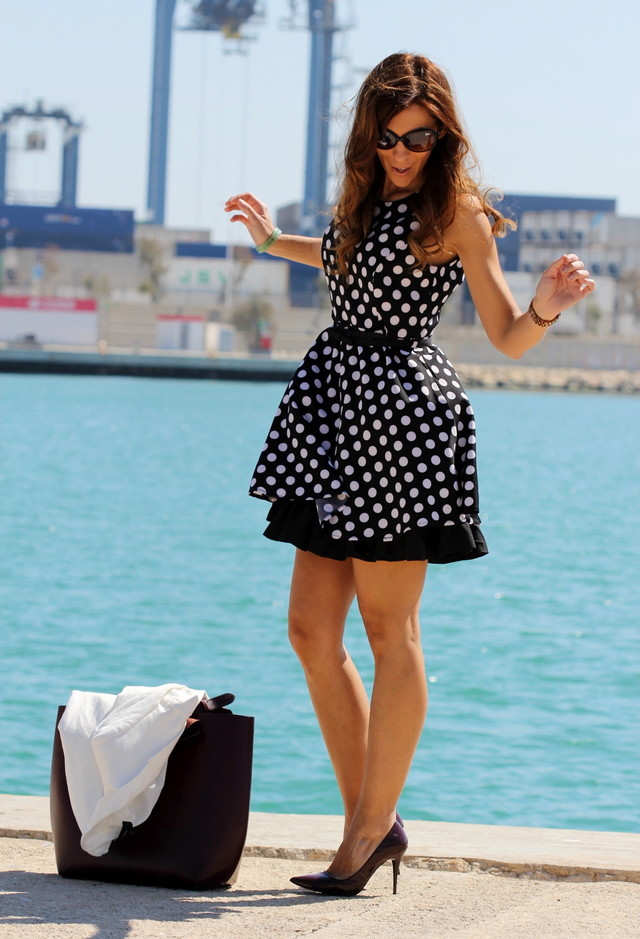 Street Style Dresses - Polka Dot Dress