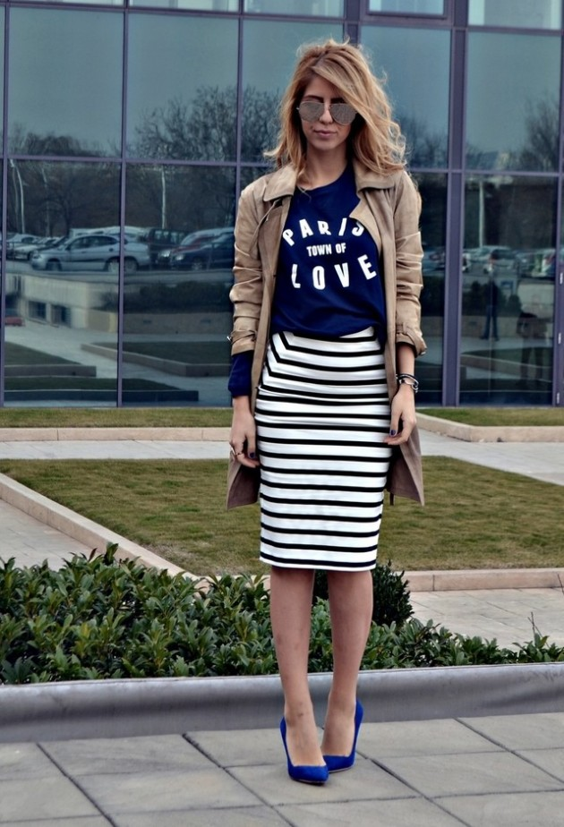 Street Style Ideas With Stripes - Striped Pencil Skirt