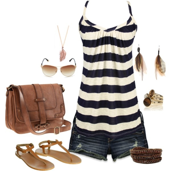 Stripe Summer Outfit Idea with Flat Shoes