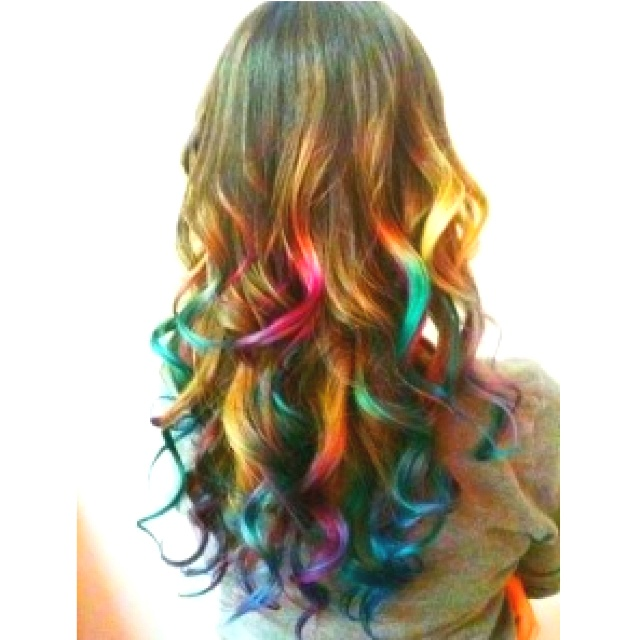 Stylish Curly Hairstyle with Rainbow Hair