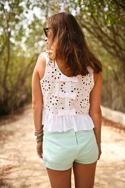 Stylish Eyelet Top with Bows