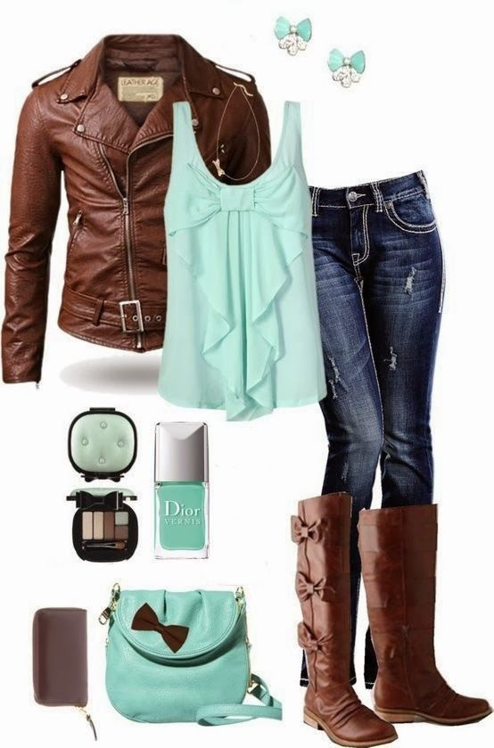 Stylish Outfit Idea with Mint Bows