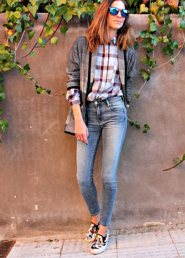 Stylish Outfit Idea with Plaid Blouse and Slip-on Shoes