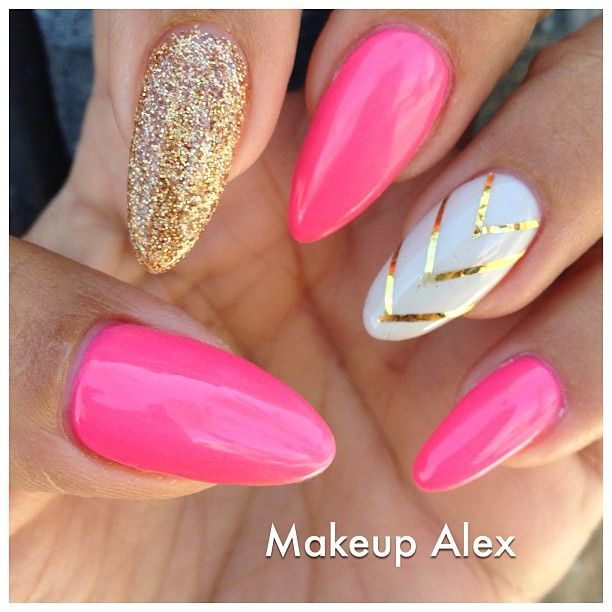 Pink stiletto nail designs to adore pretty designs stylish pink nails prinsesfo Choice Image