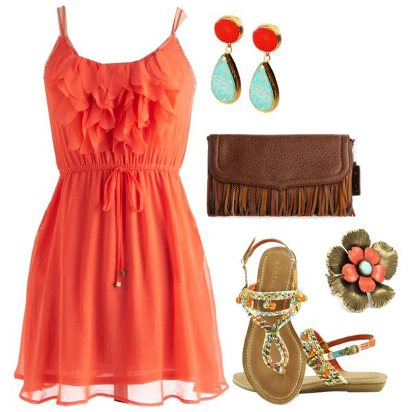 Tangerine Outfit Idea with Flat Shoes