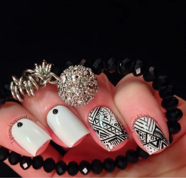 11 classic black and white nail design ideas pretty designs tribal nail art designs prinsesfo Image collections