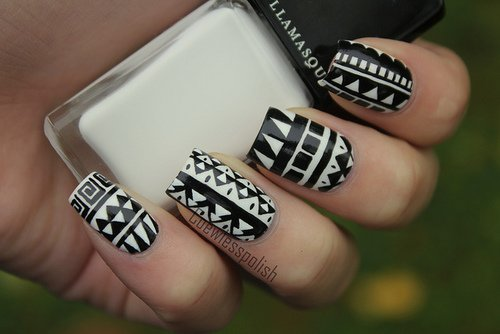 Tribal Nail Art Designs - 11 Classic Black And White Nail Design Ideas - Pretty Designs