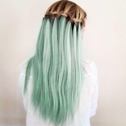 Waterfall Braid for Mint Hair