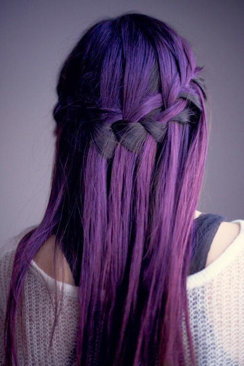Waterfall Braid for Purple Hair