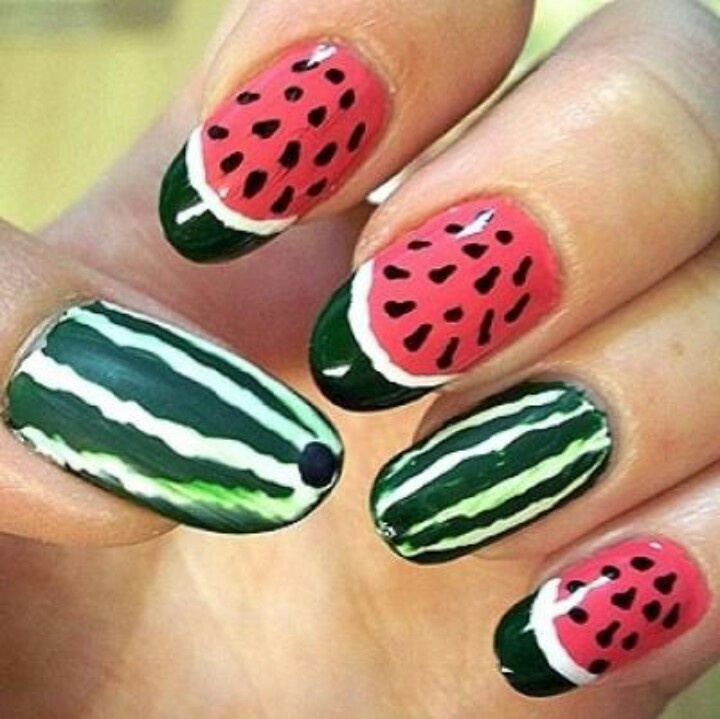 Watermelon Print for Summer Fruit Nail Designs