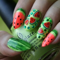Watermelon for Summer Fruit Nail Designs