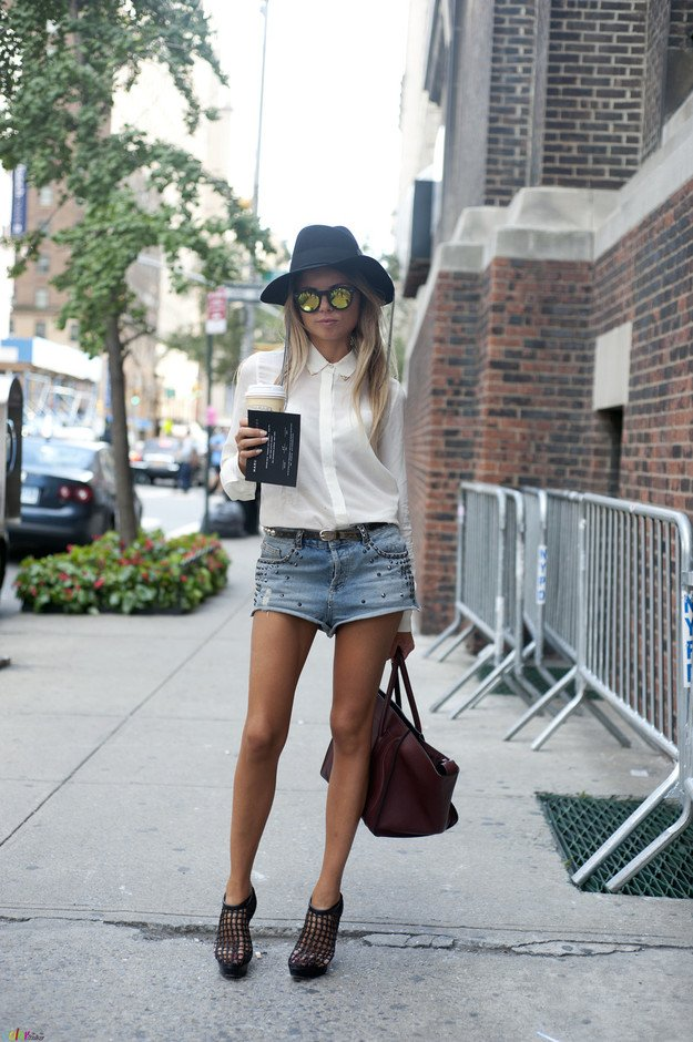 White Blouse and Denim Shorts Outfit
