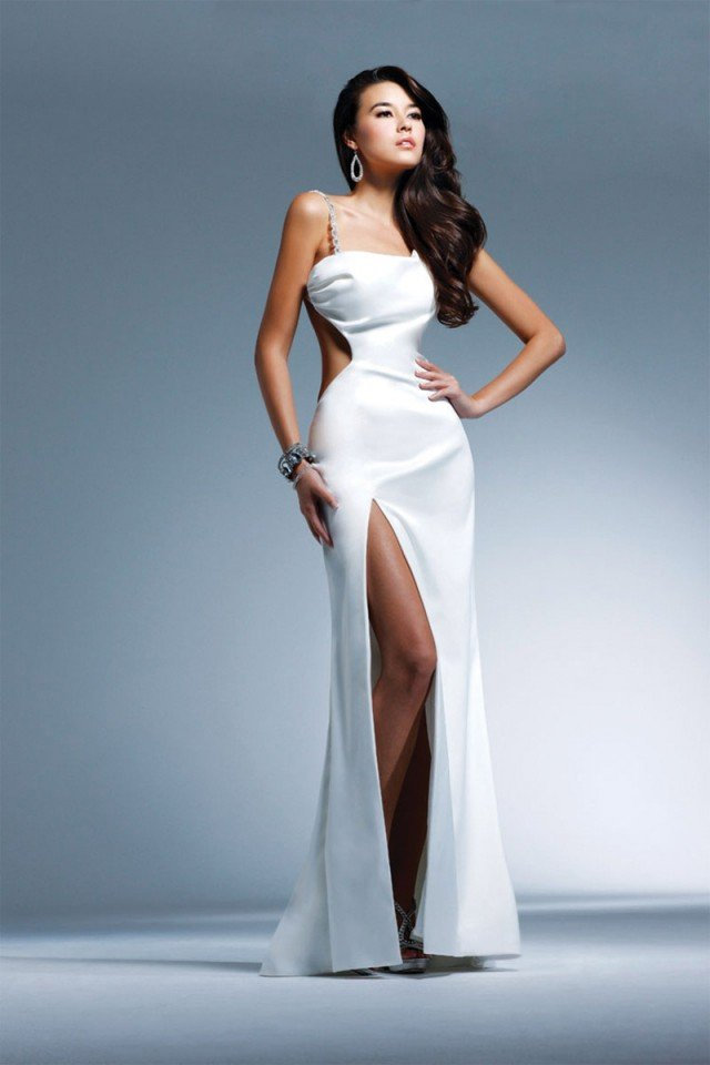 White Column Asymmetrical High Slit Dress