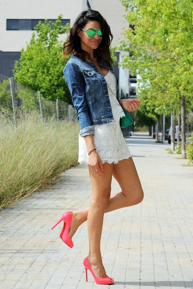 White Dress Outfit Idea with a Denim Jacket