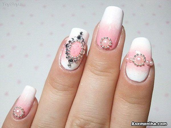 White Embellished Gem Nails