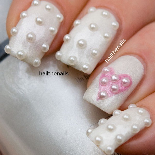 White Embellished Gem Nails