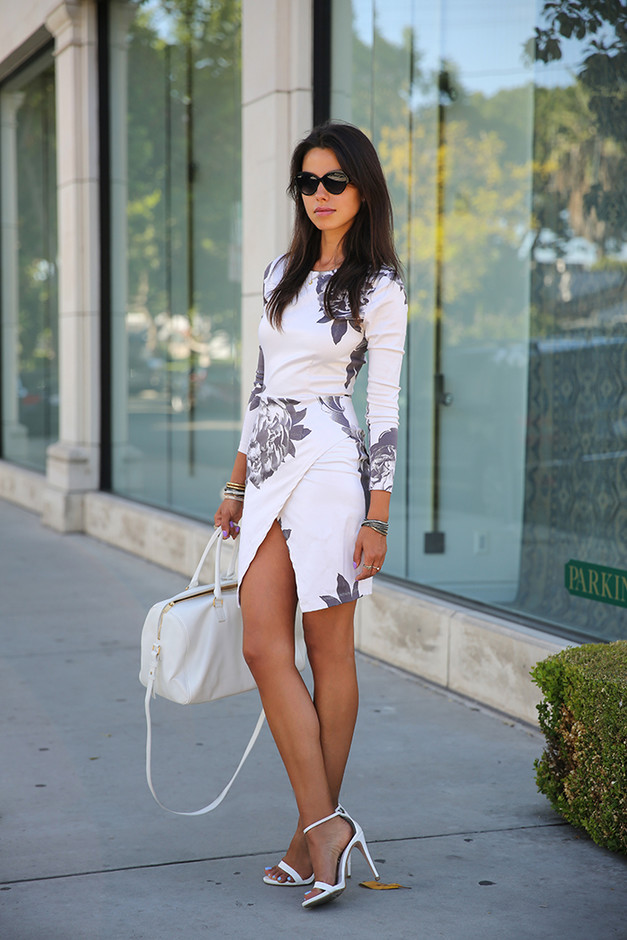 White Floral Short Dresses for Spring 2014