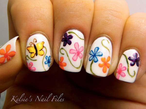 15 colorful flower nail designs for summer 2014 pretty designs white flower nail designs prinsesfo Choice Image