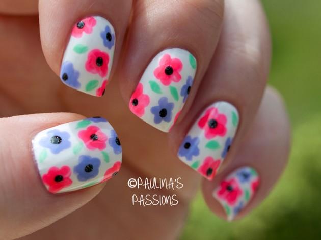 White Flower Nail Designs