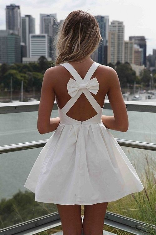 White Short Dress with a Bow